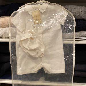 Linen Baptism Suit 100% Linen off-white 3-6 months